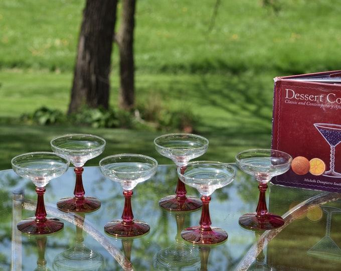 6 Vintage Cocktail Coupes - Glasses Pink Stems, 4 oz Small Cocktail glasses, 4 oz After Dinner Cocktail Glasses, Cocktail Tasting Glasses