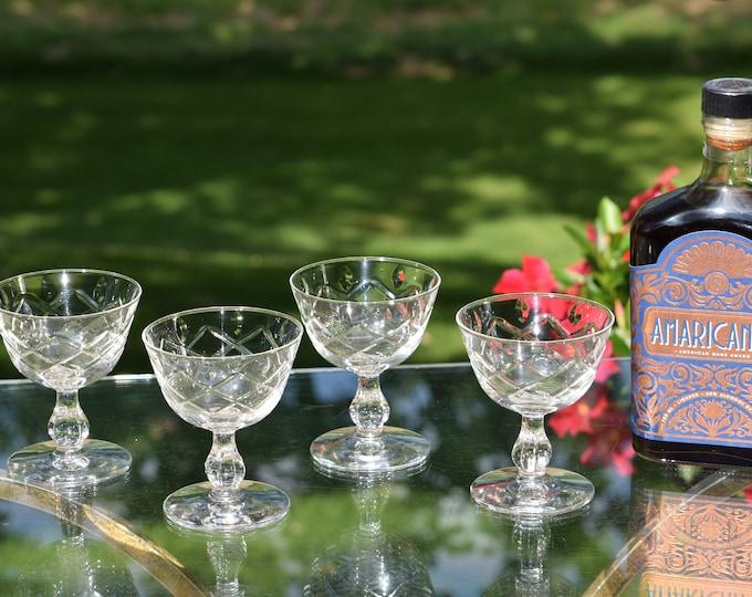 4 Vintage Etched Cocktail Glasses, Libbey, 1950's, Vintage Etched Champagne Glasses, Mixologists Craft Cocktail Glasses, Home Barware