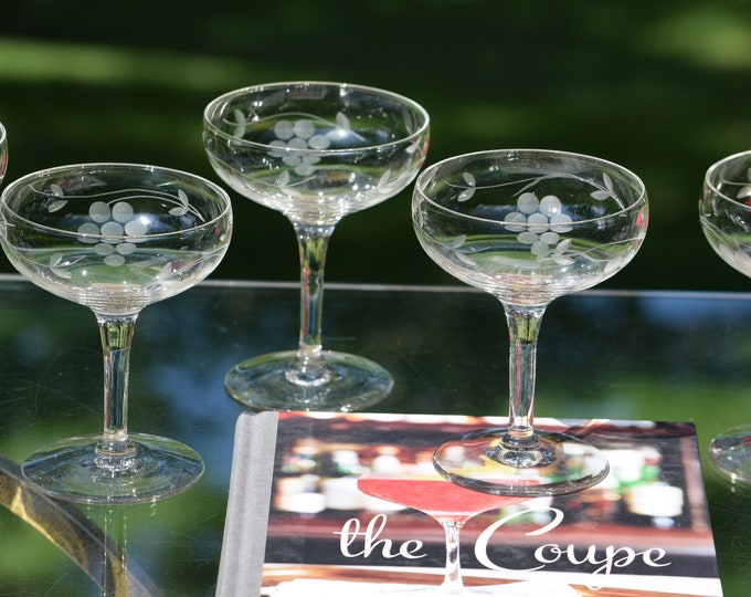 6 Vintage Etched Champagne Coupes - Cocktail Glasses,  Vintage Etched Cocktail Coupes, Nick & Nora Cocktail Coupes, Craft Cocktails