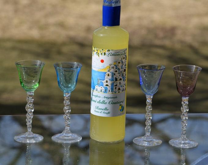 4 Vintage Multi Colored twisted clear stem Liqueur - Wine Cordials glasses, Set of 4, Vintage Multi Colored After Dinner Drink Glasses