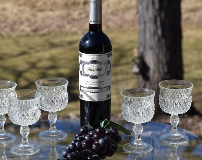 4 Vintage Pressed Glass Wine Glasses, 1960's, Vintage Claret 6 oz Wine Glasses, Vintage Dessert Wine, Port Wine Glass, After Dinner Drinks