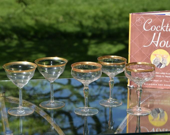 5 Vintage Gold Rimmed Cocktail Glasses, Mis-Matched Vintage Gold Rimmed Champagne ~ Manhattan Glasses, Craft Cocktail Glasses, Mixologists