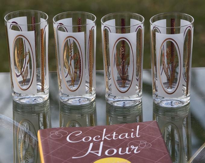 4 Vintage Cocktail Highball Glasses, Set of 4, Vintage Gold Cocktail Glasses, Bar Cart Decor, Mad Men Style, 1950's Vintage Barware