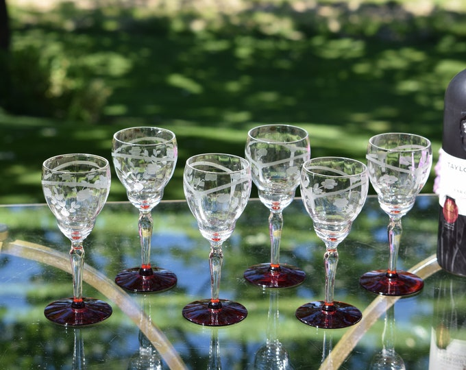 6 Vintage Etched with Ruby Red Foot Wine Glasses, circa 1950, 5 oz Wine glasses ~ Dessert Wine ~ After Dinner Drink Glasses