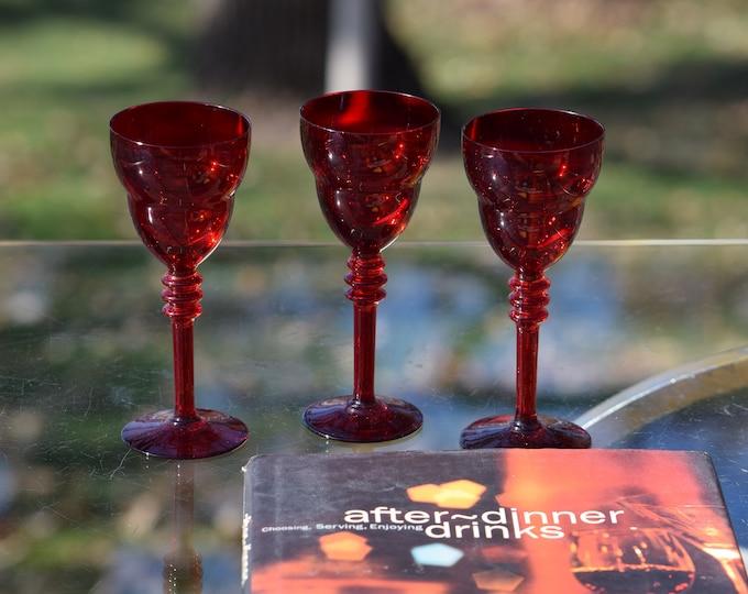 3 Vintage Ruby Red Wine Glasses, After Dinner Port ~ Dessert Wine glasses, 3 oz Liqueur glasses, Aperitif After Dinner Drinks 3 oz