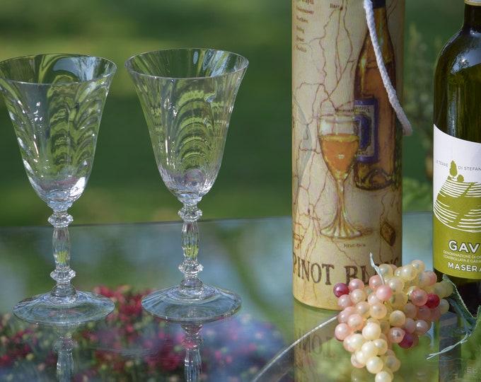 4 Vintage Etched Wine Glasses, Cambridge, circa 1950's, Vintage Tall Vintage Water Goblets - Wine glasses, Vintage Wedding Glasses