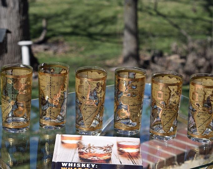 6 Vintage Cocktail ~ Whiskey Highball Glasses, Set of 6, Cera, Old World, 1950's, Whiskey, Bourbon, Scotch glasses, Mid Century Barware,
