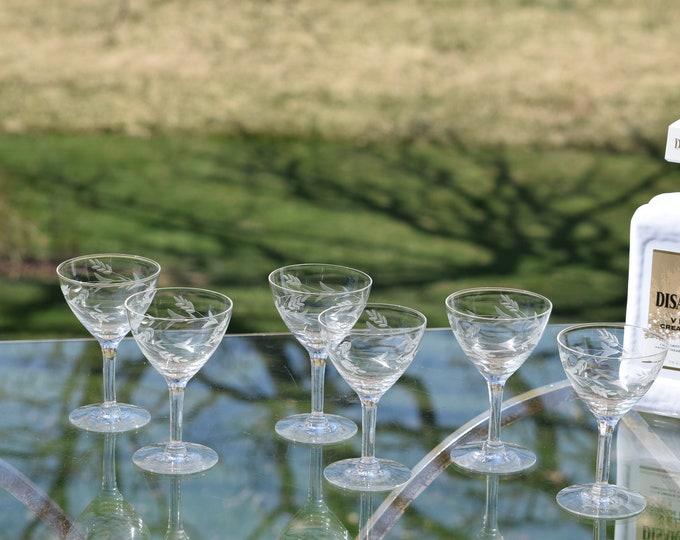 6 Vintage Etched Wine/Liquor Cordials,  3 oz After Dinner Liquor Port Wine Cordials, 3 oz Liquor - Cocktail glasses