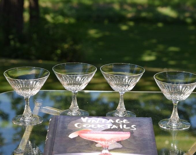 3 Vintage CRYSTAL Bubble Stem Cocktail Glasses,  Tiffin Franciscan, circa 1960, Vintage Crystal Martini Glass, Crystal Bubble Stem