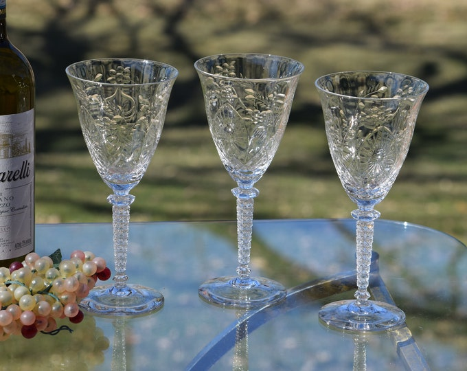 Vintage Etched CRYSTAL Wine Glasses, Set of 6, Rock Sharpe, Vintage Crystal Water Goblets, Exquisite Wedding Toasting Wine Glasses
