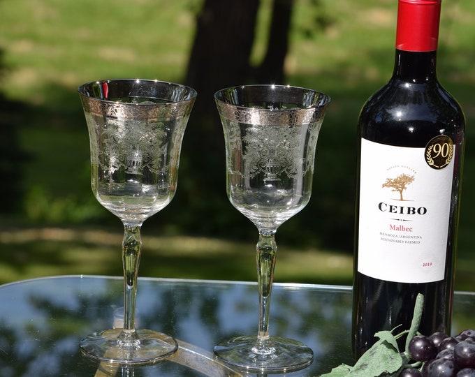 4 Vintage Platinum Encrusted Etched Wine Glasses, Tiffin Franciscan, 1940's, Vintage Silver Rim Water-Wine Goblets, Antique Wine glasses