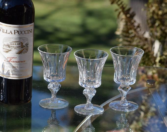 6 Vintage Etched Wine Glasses, Set of 6, Tiffin Franciscan, Princeton, c. 1960's, 5 oz Wine glasses, After Dinner Dessert Wine Glasses