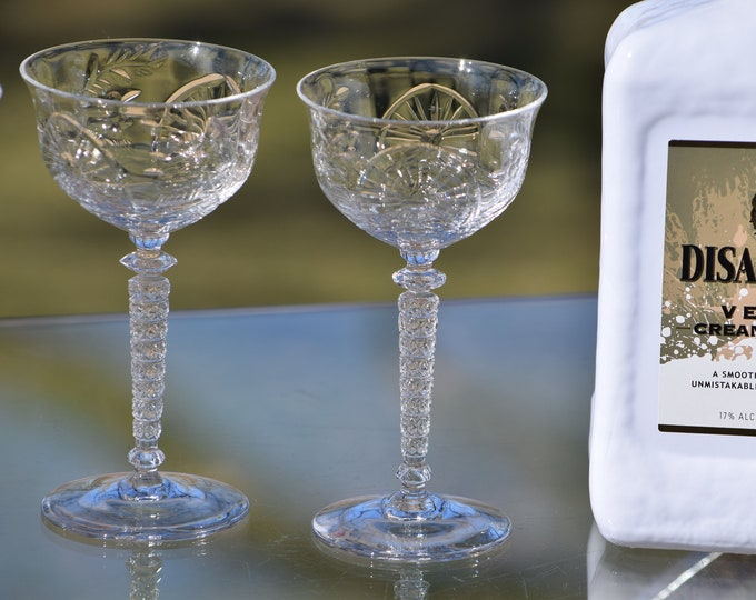 Vintage Etched Crystal Wine Liquor - After Dinner Drink Glasses , Set of 4, Rock Sharpe 3 oz Dessert Wine, Sherry glasses