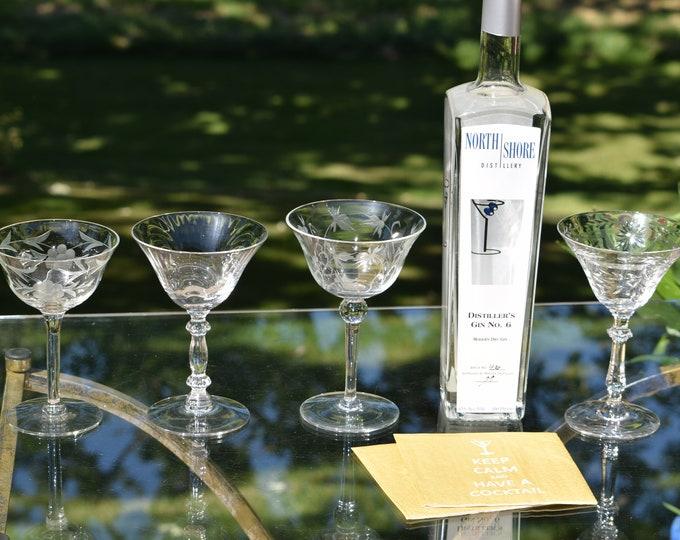 4 Vintage Etched Cocktail Martini Glasses, Set of 4 Mis-Matched Cocktail glasses, Mixologist Craft Cocktail Glasses, Manhattan Glasses