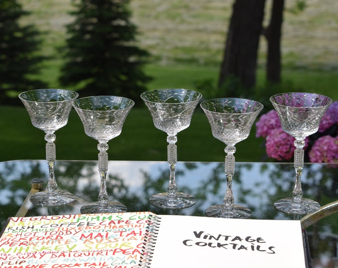 5 Vintage Etched Cocktail Glasses, 1940's, Craft Cocktail Glasses, Tall Etched Martini Glass, Wedding Toasting Champagne Glasses