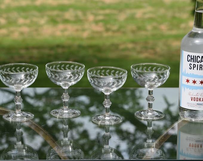 4 Vintage Etched Cocktail Glasses ~ Champagne Coupes, 1950's,  Vintage Etched Cocktail Coupes, Nick & Nora Cocktail Coupes, Craft Cocktails