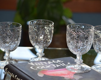 Vintage CRYSTAL Wine Glasses, Set of 6,  Vintage Cut Crystal Cocktail glasses, 1930's, Pairpoint Cut Crystal Wine Glasses