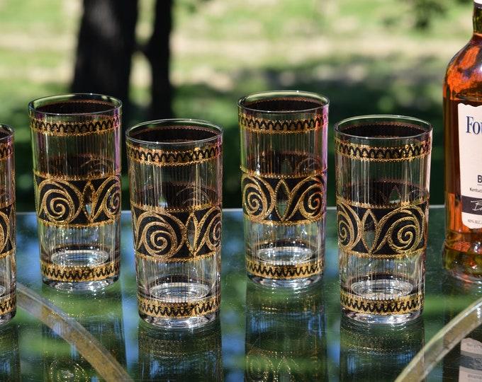 6 Vintage CULVER Black & Gold Highball Glasses, Culver, 1940's, Vintage Whiskey Bourbon Scotch Highball Glasses, Home Bar Highballs