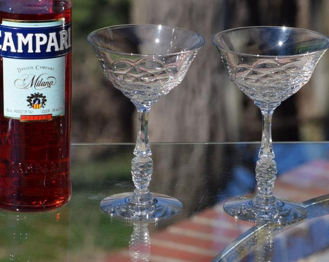4 Vintage Pressed Glass Cocktail Martini Glasses, Set of 4, circa 1950's, Vintage Champagne Glasses, Mixologist Cocktail Glass