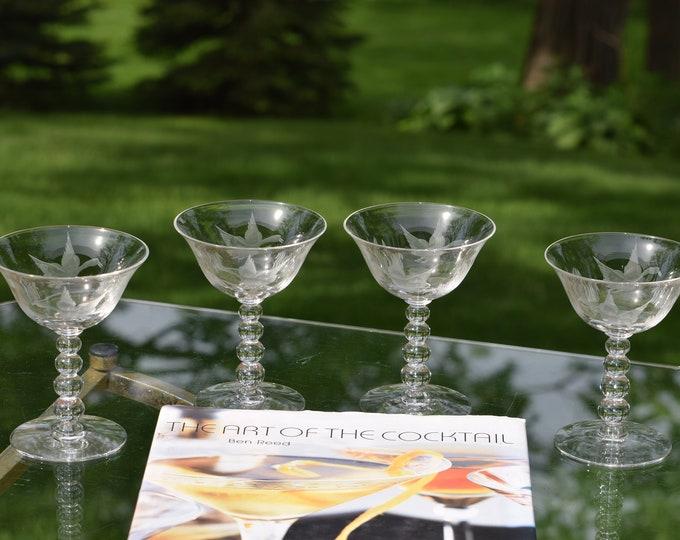 4 Vintage Etched Cocktail Martini Glasses, Mallard, Candlewick, circa 1950's, Vintage Champagne Glasses, Hunter ~ Nature ~ Duck Glasses