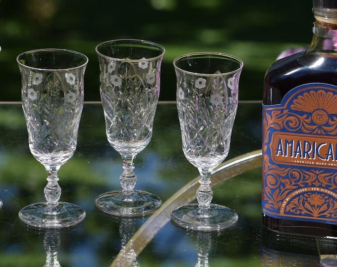 6 Vintage Etched Crystal Wine Liqueur - After Dinner Drink Glasses, Rock Sharpe, Bagdad, 1950's,  8 oz Dessert Wine, Sherry glasses