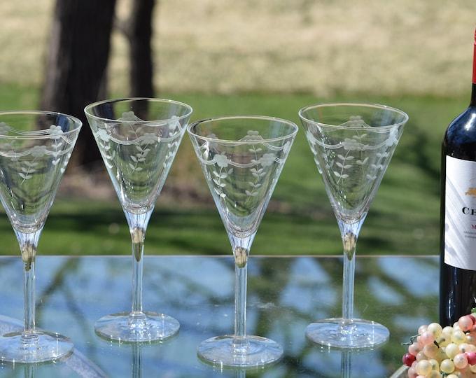 4 Vintage Etched Wine Glasses, Set of 4,  Floral Etched Wine glasses ~ Cocktail Glasses, Elegant Vintage Wedding Toasting Glasses