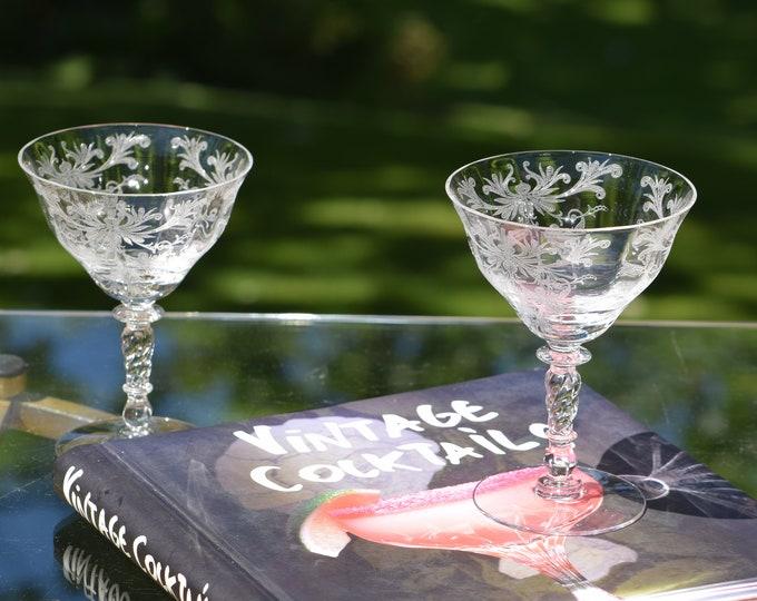 2 Vintage Etched Cocktail Martini Glasses, Tiffin Franciscan, Mixologist Craft Cocktail Glasses, Cocktails for Two Vintage Cocktail  Glasses