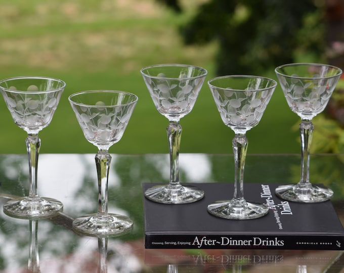 5 Vintage Etched Liqueur ~ Cocktail glasses,  Tall After Dinner Drink Glasses , Small 3 oz Martini Glasses, 3 oz Etched Liqueur Glasses