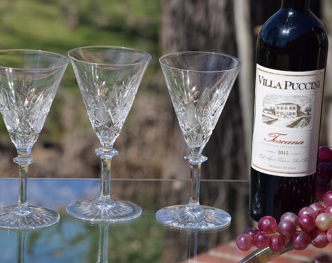 4 Vintage Etched CRYSTAL Wine Glasses, Set of 4 Val St Lambert ~ Eurydice, 8 oz Water Goblets, 1950's Vintage Belgium Crystal Val St Lambert