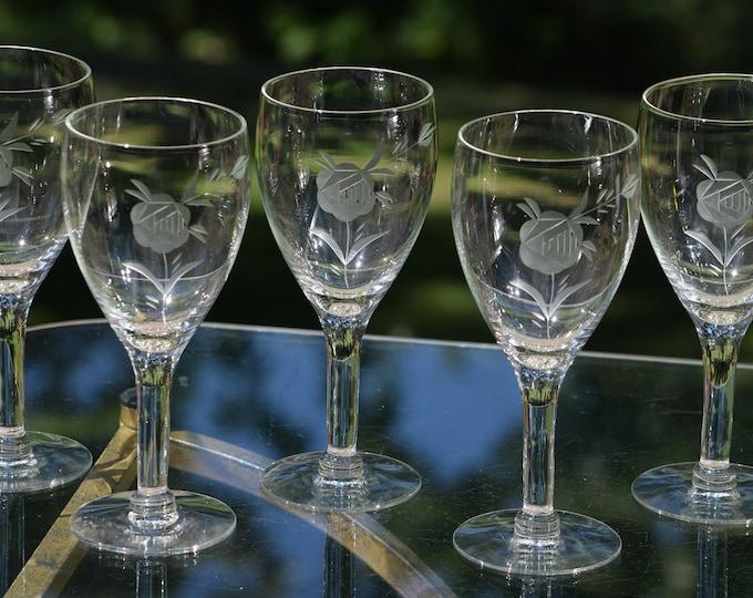 6 Vintage Rose Etched Wine Glasses, circa 1950's,  Vintage Etched Wine Glasses, Wedding Toasting Glasses, Vintage Wedding Glassware
