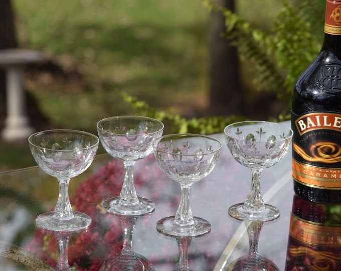 4 Vintage Etched CRYSTAL Wine Cordials - Glasses, Bubble Stem, Tiffin Franciscan, circa 1960's, After Dinner Drink Cordials, 3.5 oz