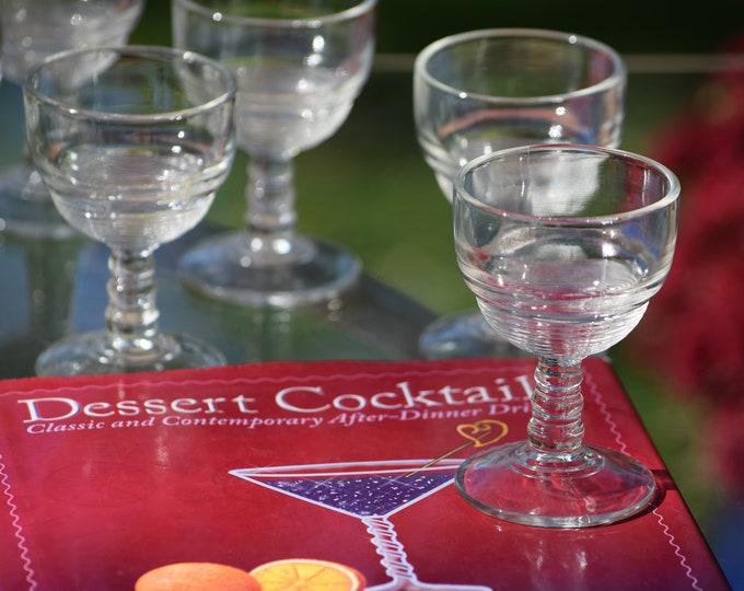 7 Vintage Wine ~ Liqueur CORDIAL Glasses ~  Pressed Glass 2 oz After Dinner Drink Glasses, Limoncello, Dessert Wine - Port Wine Glasses