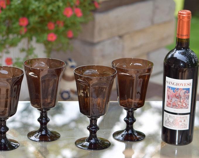 4 Vintage Wine Glasses ~ Water Goblets, Lenox ~ Antique Brown, c. 1960's, Vintage Brown Water Glasses, Summer Cocktail Glasses,
