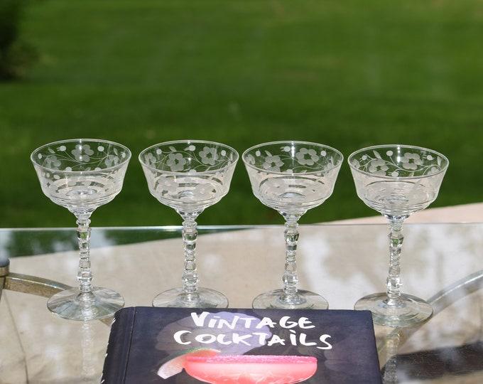 4 Vintage Etched Cocktail Glasses, 1950's,  Cocktail Party Glasses, Unique Etched Martini  Glasses, Mixologist Craft Cocktail Glasses