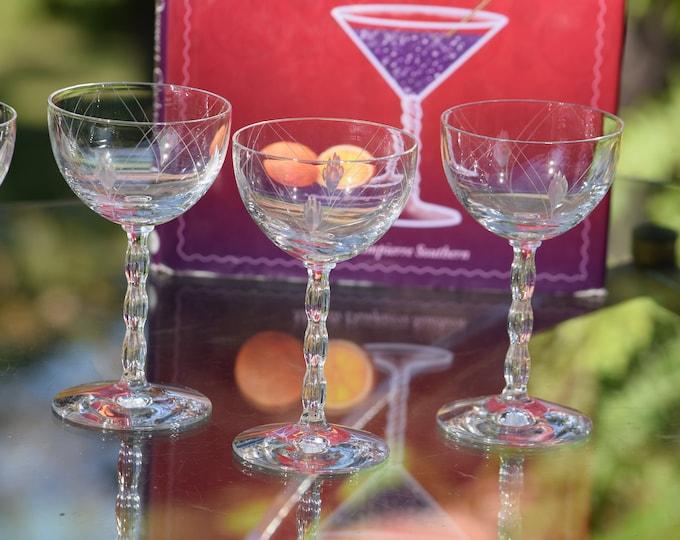 5 Vintage Etched Crystal Wine -Liqueur Cordial Glasses, Set of 5, Fostoria, Herladry, 1940  ~ 3 oz, After Dinner Drinks Glasses