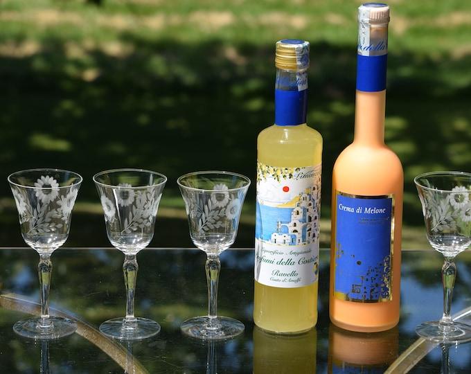 4 Vintage Etched Wine Liqueur Cordials ~ After Dinner Drink Glasses,   4 oz Port ~ Dessert Wine, Sherry glasses