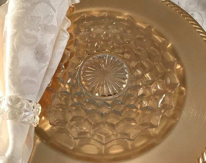"5 Vintage Glass 7"" Plates,  Appetizer ~ Cheese Meats Plates ~ FOSTORIA, circa 1950, Vintage Glass Luncheon - Dessert -Salad Plates"