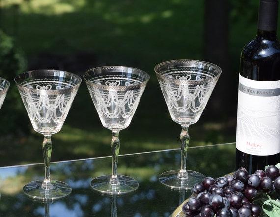 Vintage CRYSTAL Platinum Encrusted Rim - Needle Etched Wine glasses, Set of 4, circa 1920's, Antique Needle Etch Wine Glasses - Water Goblet
