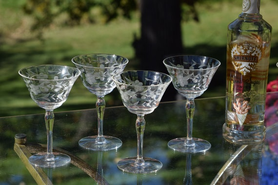 Vintage Etched Cocktail Martini Glasses, Set of 5, 1950's, Vintage Etched Champagne Glasses, Craft Cocktail Glasses - Manhattan Glasses