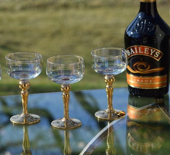 Vintage Gold Wine ~ Liquor Glasses ~ After Dinner Drink Glasses, Set of 4,  4 oz Liquor - Port Wine Glasses, Small Cocktail Tasting Glasses