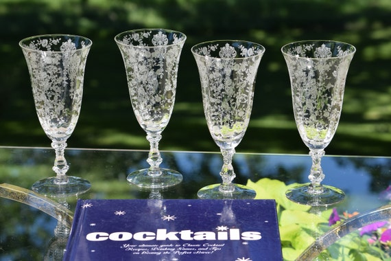 Vintage Needle Etched Optic Crystal Cocktail ~ Wine Glasses, Set of 4, Cambridge, Rose Point, circa 1934, Mixologist Craft Cocktail Glasses