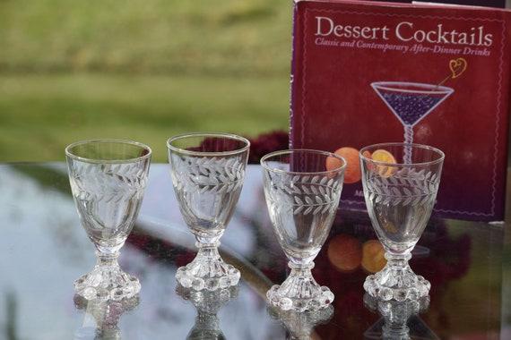 Vintage Etched Wine Glasses - Liqueur Glasses, Set of 4, 5 oz After Dinner Drink Glasses ~ Limoncello ~ Vintage 5 oz Port Wine Glasses