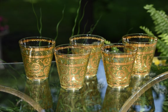 Vintage CULVER Whiskey ~ Scotch ~ Bourbon Double Old Fashioned glasses, Set of 5,  Culver Toledo Barware 1950's, Vintage Cocktail Glasses