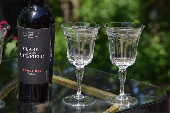 Vintage Needle Etched CRYSTAL Wine Glasses, Set of 5, Antique Wedding Toasting Glasses, Antique CRYSTAL Wine glasses