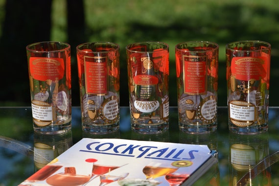 Vintage Mid Century Red & Gold Highball Glasses ~ Set of 5 ~  Gold and Red Recipe Highball Whiskey, Bourbon, Scotch Glasses, Cocktail glass
