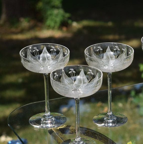 Vintage Etched Crystal Cocktail Glasses, Set of 6,  Tall Satin Etched Champagne Coupes,  Mixologist Cocktail Coupes, Craft Cocktail Glasses