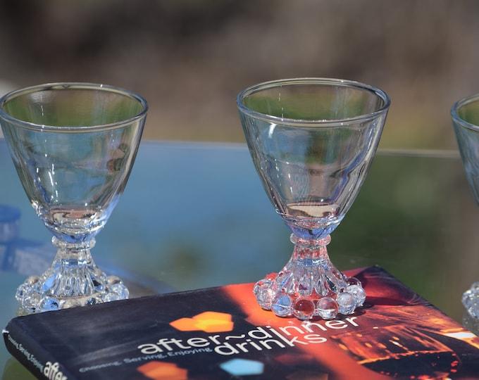 4 Vintage Wine Glasses - Liqueur Glasses,  3 oz After Dinner Drink Glasses ~ Limoncello ~ Vintage 3 oz Port Wine Glasses