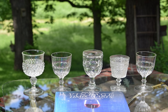 Antique Pressed Glass Wine Glasses, Set of 5 mis-matched EPAG Antique Wine Glasses, Elegant Pressed Glass Wine Glasses