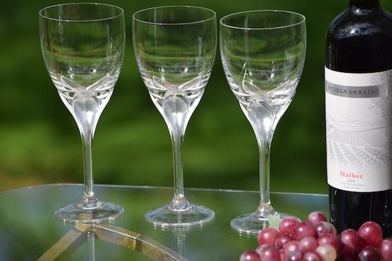 "Vintage CRYSTAL Wine Glasses, Set of 4, Rosenthal, Iris ~ Satin Stem, Vintage Crystal Water Goblet, 8 3/8"" Tall, Crystal Wedding Gifts"