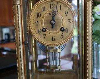 Antique Tiffany & Co. Crystal Regulator Clock ~ Brass ~ INCREDIBLE DETAIL !